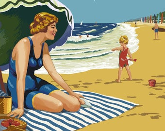 Long Beach, California - Woman on the Beach - Lantern Press Artwork (Art Print - Multiple Sizes Available)