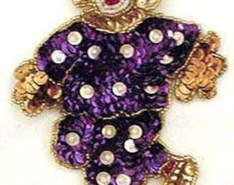 Sequins & Beaded Purple White Polka Dot Clown (Small) Applique