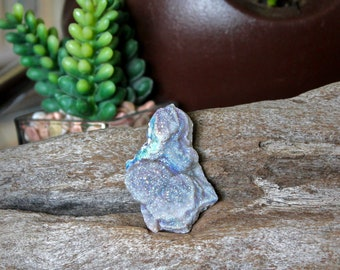 "1.75"" Angel Aura Chalcedony Conchas, Crystalized Chalcedony Concho, Druzy Stone Specimen, Chalcedony Rose, Pagan Altar Supplies, Chakra"