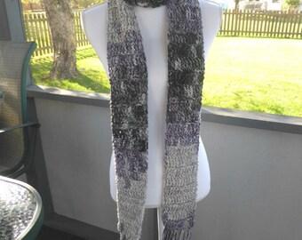 Purple Gray Lightweight Scarf ~ Any Season Scarf ~ Long Fringe Scarf ~ Crochet Fringe Scarf ~ Thin Scarf ~ Boho Hippie Trendy Earthy