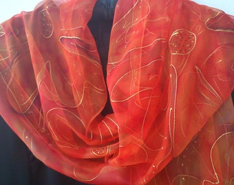 Orange and Gold Chiffon Scarf for Ladies. Wearable Art, Floral Design. Apricot, Orange, Red, Cinnamon.18x71 Chiffon Shawl Hand Painted OOAK