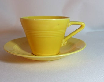 Vintage Homer Laughlin Harlequin Cup and Saucer Set in Yellow