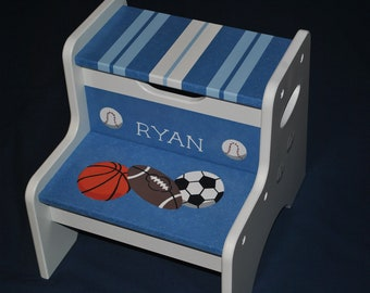 Kids Personalized 2 Step Stool - Sports