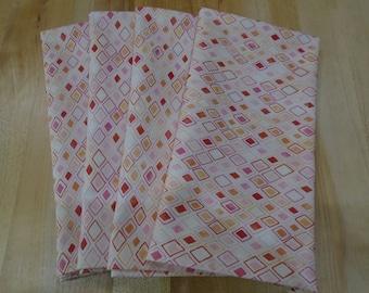 Cloth Napkins,Set of 4 Napkins,Dinner Napkins,Everyday Napkins,Eco Napkins,Washable Napkins,Large Napkins,Cotton Napkins,Pink Rectangles