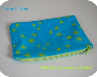Small flat clutch cotton turquoise green stars