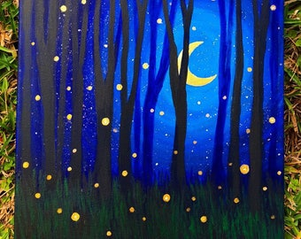 Original Fireflies Acrylic Painting - From the Endangered Species Series