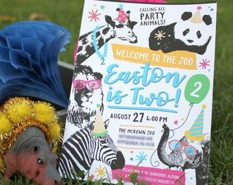 Party Animal zoo birthday invitation, kid's birthday, party animal, zoo party, birthday, animals, lion, panda, elephant, zebra,giraffe