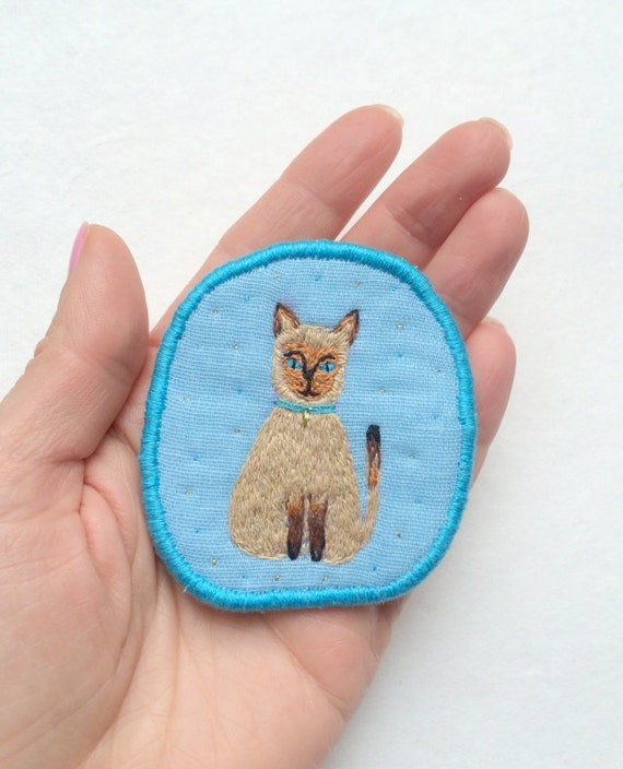 Textile Pet Brooch - Siamcat Maison, hand embroidered textile cat jewelry