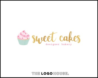 Cupcake Logo, Logo For Baker, Gold Bakery Logo, Cute Logo Design, Logo For Baker, Gold Foil Effect Logo, Feminine Bakery Logo Design