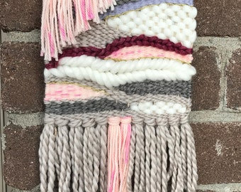 Pink and Gray Handmade Woven Wall Hanging