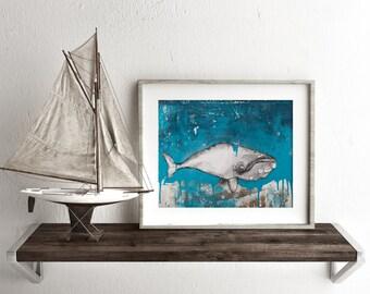 """Whale Art, Whale original Art Print, 50 X 70cm Print, Nautical Print, Nautical Decor, Wall Art, Wall Decor, Fine Art Print, 12 x 16"""", #507WH"""