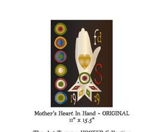 """Mother's Heart In Hand ~ Original ~ 11"""" x 15.5"""" Paper Pattern for HOOKED RUG by The Art Tramp/HOOKER Collection"""