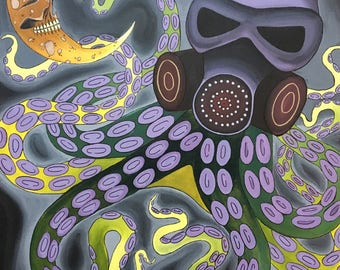 "24"" X 36"" Octopus Painting on Stretched Canvas"