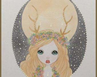 Original art Queen of the forest lowbrow fantasy art