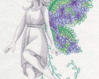 FAIRY With FLOWER WINGS - Machine Embroidered Quilt Block (AzEB)