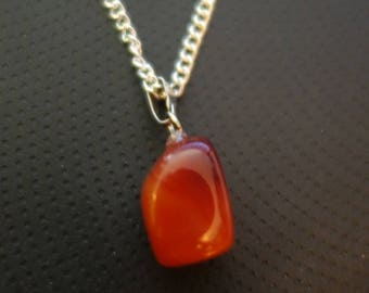 Silver necklace and Red Agate stone