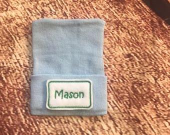 Personalized Hospital Hat - Newborn Boy Hospital Hat - Baby Boy Hospital Hat -  Newborn Hat with Name