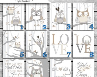 5x7 or 8x10 Inch Prints - Printed on Matte or Glossy Photo Paper And Shipped - Levtex Baby Night Owl Crib Bedding - Grey