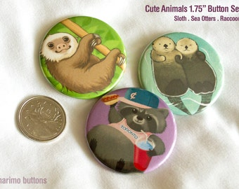Cute Animals 3pc Button Set / Sloth / Raccoon / Otters