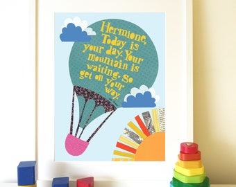 Dr Seuss Print, Today is your day, Personalised nursery print, Children's print, Nursery decor, Dr Seuss quote.