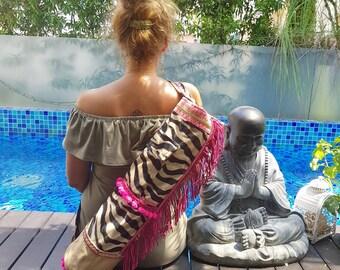 Yoga Mat Bag - Yoga Mat Carrier with Zebra print and Pompoms