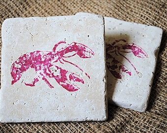 Lobster Coaster, Red Lobster, Stamped Coaster, Christmas Gift, White Elephant Gift, Unique Christmas Gift, Set of 4 Tile Coasters