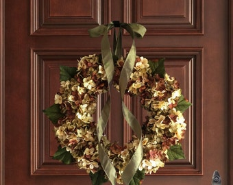 Wreaths | Summer Door Wreaths |Hand Blended Hydrangea Wreath | Fall Wreath | Year Round Wreath | Hydrangea Wreath | Housewarming Gift