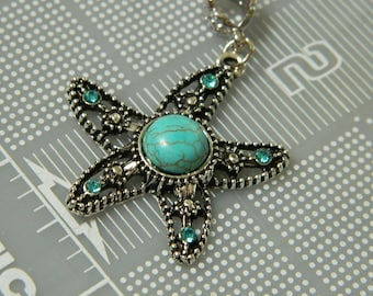 Vintage Silver Starfish Turquoise Pendant - Antiqued Starfish Focal with Rhinestones