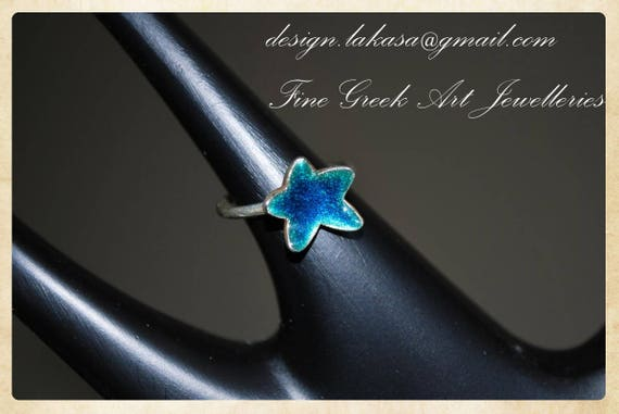 Star Enamel Ring Sterling Silver 925 White Gold Plated Jewelry Lakasa e-shop Best gifts ideas children girl birthday kids collection