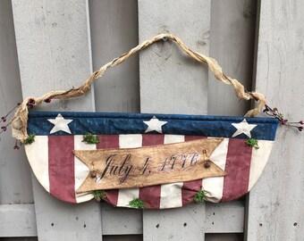 Patriotic Banner , Primitive American Flag Hanger , Primitive Wall Decor , 1776 American Flag Banner