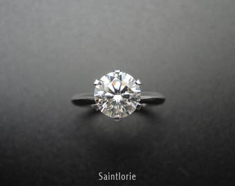 1 Carat Moissanite Engagement Ring With Diamond Halo