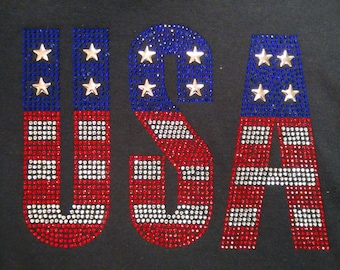 USA red, white and blue Crystal embellished tee shirt - premium rhinestones with amazing sparkle, bling and brilliance