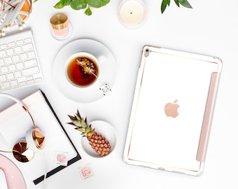 iPad Case . iPad Pro 10.5 . Elegant White with Rose Gold Smart Cover Hard Case for  iPad mini 4  iPad Pro  New iPad 9.7 2017