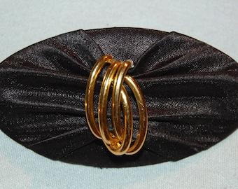 Barrette Hair Clip, Black Fabric Barrette, Gold, Vintage old jewelry