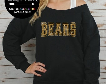 BEARS Off Shoulder Raw Edge Sweatshirt for Women // GLITTER // Tailgate, Football Shirt, Mascot, Sports Tee, Plus Sizes (Gold Glitter)