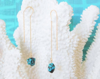 Turquoise Threader Earrings, Raw Turquoise Earrings,Turquoise Dangle Earrings, Turquoise Earrings Gold, Turquoise Earrings Dangle