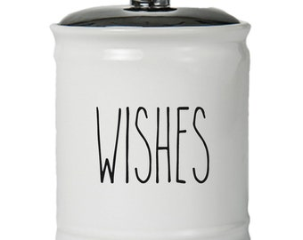 Wishes Word Jar With Lid - Money Coin Jar - Money Bank - Money Jar - Money Jar With Lid