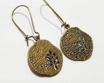 Antique Bronze Tree Pendant Earrings with Kidney EarWire, Minimal Earrings