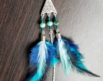 Ocean Tide - Single Feather Earring with Unique Beading and Bright Blue Feathers Bohemian and Colorful