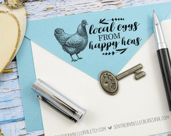 "2x1"" Carton Stamp - Local Eggs From Happy Hens"