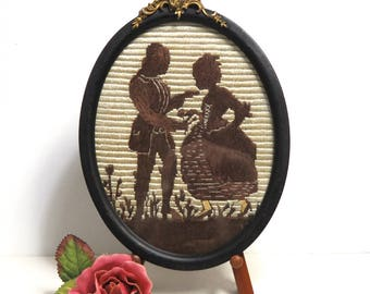 Embroidered Silhouette in Antique Frame/ Courting Couple Romantic Needlepoint/ Cottage Wall Decor