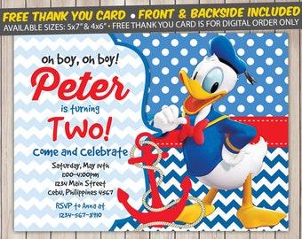 Donald Duck Invitation, Donald Duck Birthday Invitation, Donald Duck Birthday Party, Donald Duck Thank You Card, Personalized, Digital File