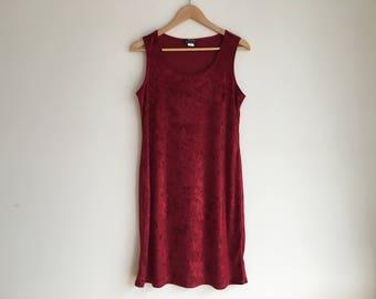 90's vintage Red Crushed velvet dress ( Size Medium )