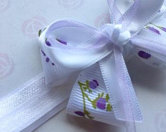 Baby Girl Headband White and Lilac Hair Bow