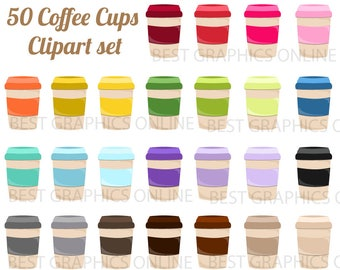 80% OFF SALE 50 Coffee clipart illustration Coffee cup clip art Beverage Clip Art set Rainbow coffee cup clipart Commercial use clipart  LL3