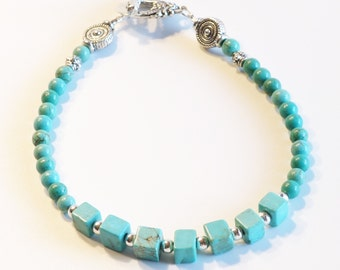 TURQUOISE Women's stackable bracelet, stacking bracelet, statement bracelet, beaded bracelet