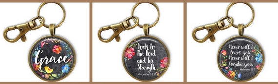 Bible Verse Key chains - Large Bronze  Scripture Verse Keychains for Women - Christian Encouragement Keychains