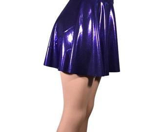 Purple Metallic Mystique High Waisted Skater Skirt - Clubwear, Rave Wear, Mini Circle Skirt