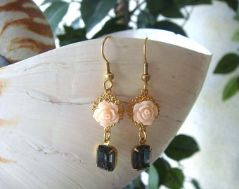 Swarovski Crystal Filigree and Rose Delicate Dangle Earrings-Peach Morion-Vintage
