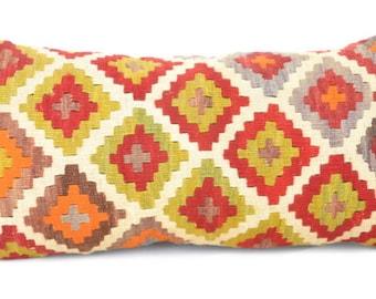 30x60 12x24 kilm lumbar, lumbar cushion, lumbar pillow covercushion   ethnic pillow, throw pillow , cushion cover  kilim rug pillow.L 5